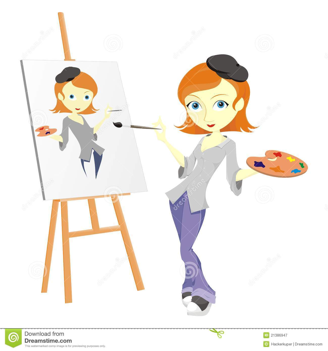 artist while painting herself. the elements is include the full artist