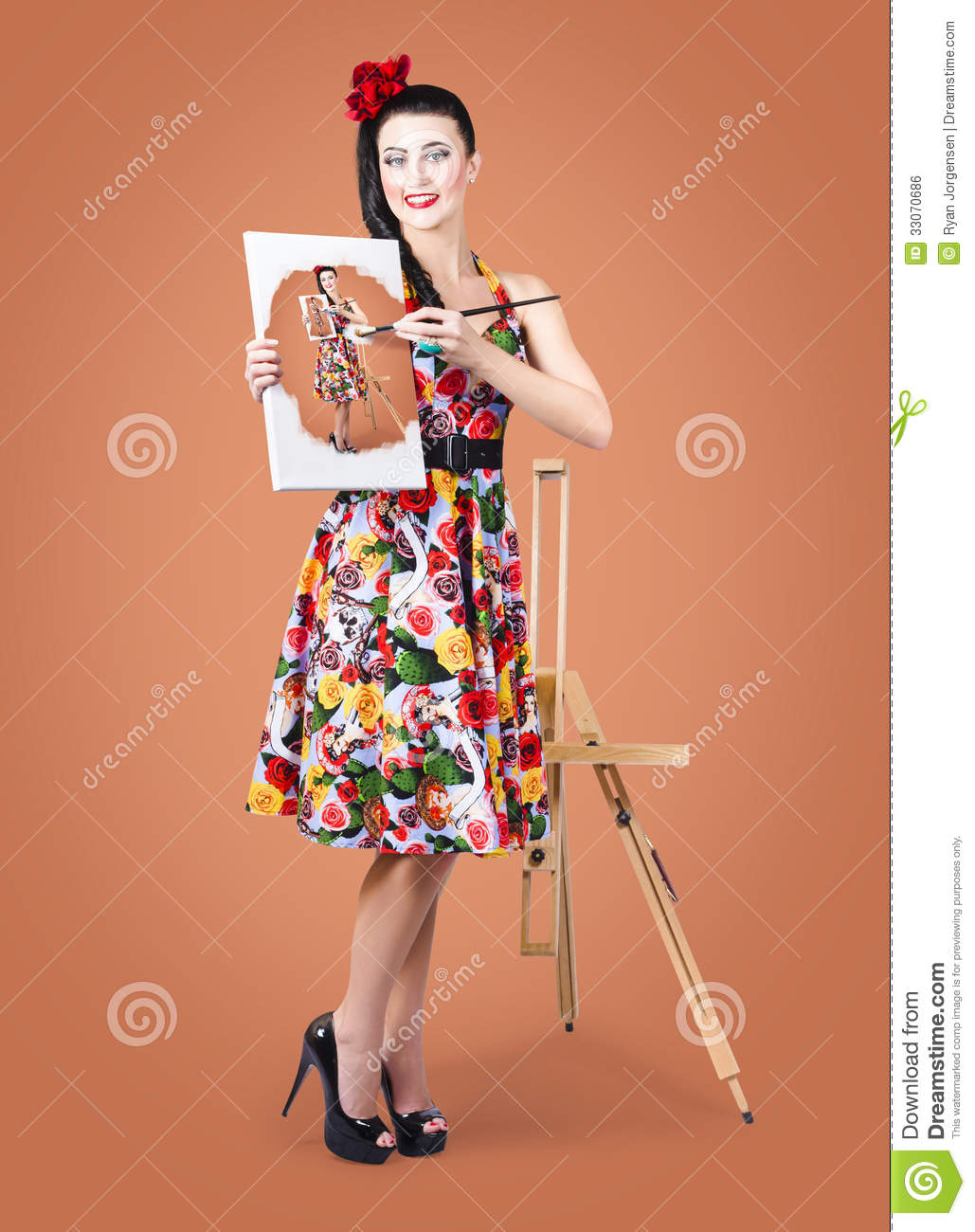 Female artist paints self portrait with oil paint stock royalty free stock photo baditri Image collections