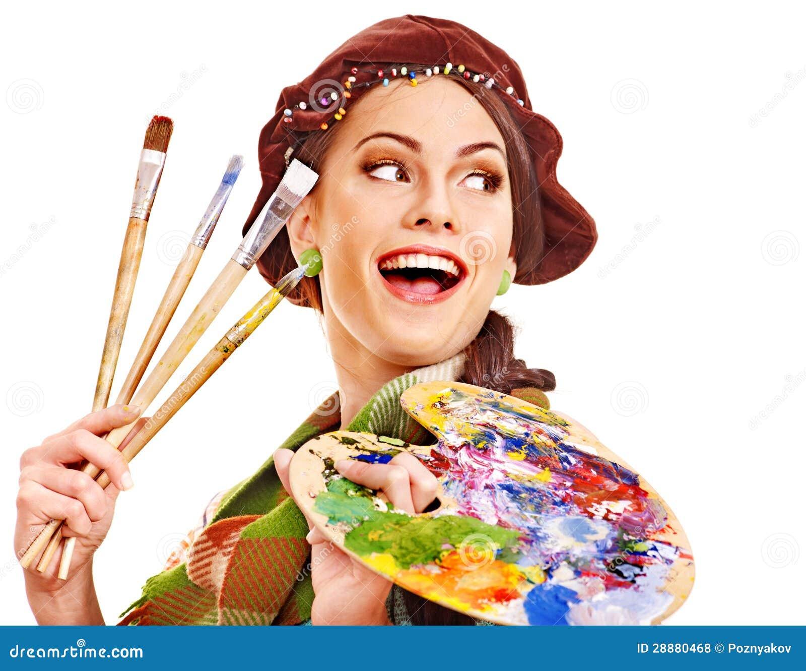 female artist at work stock photo image of paintbrush 28880468