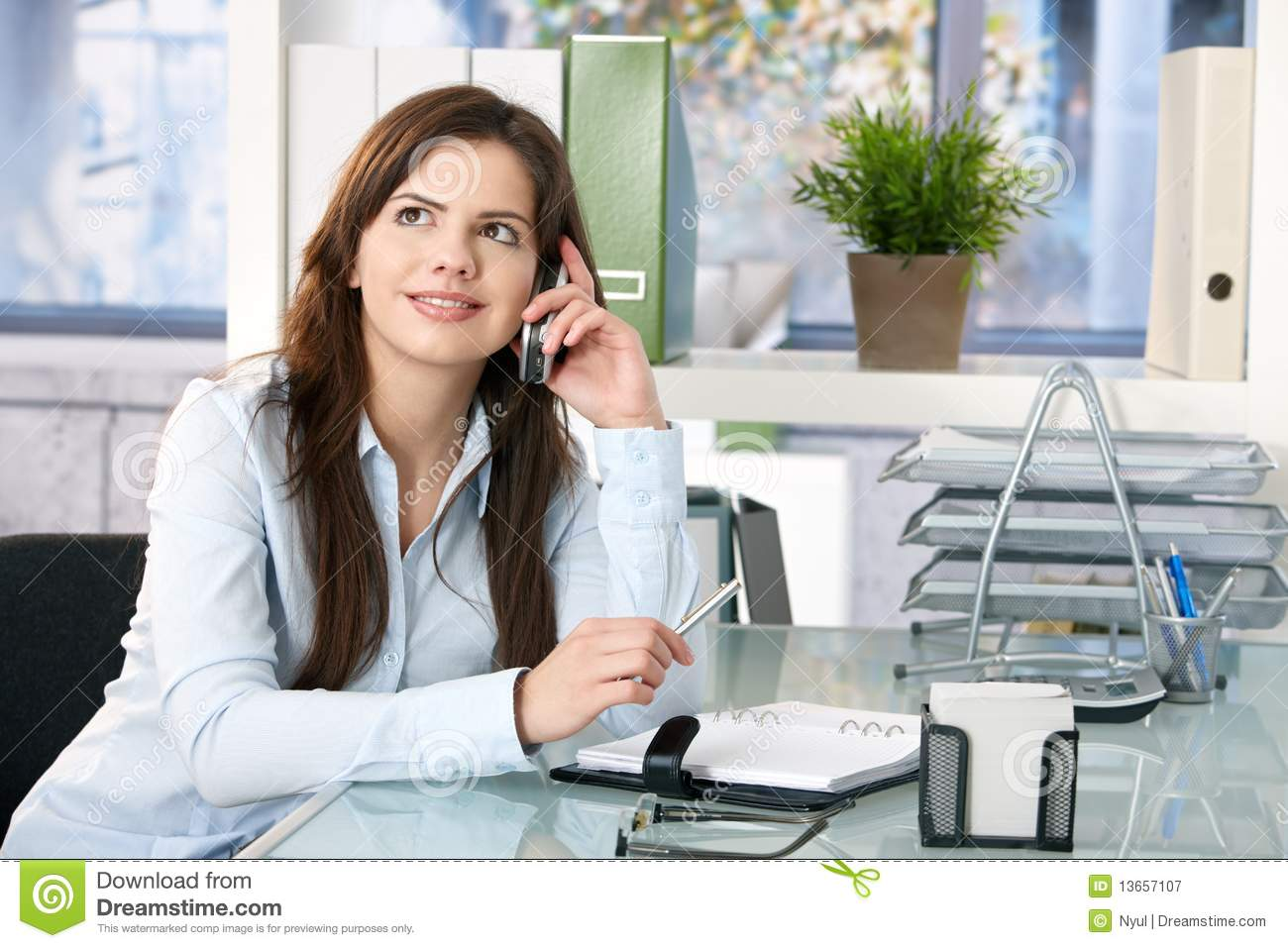Female assistant on phone stock image. Image of good ...