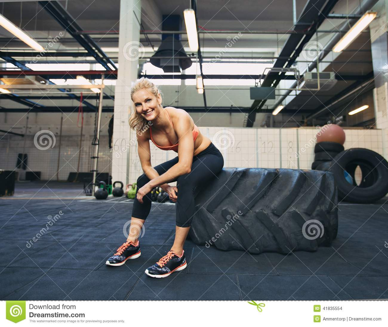 Fit Ladies Who Work Out And Have: Female Athlete Taking Rest After Tough Crossfit Workout