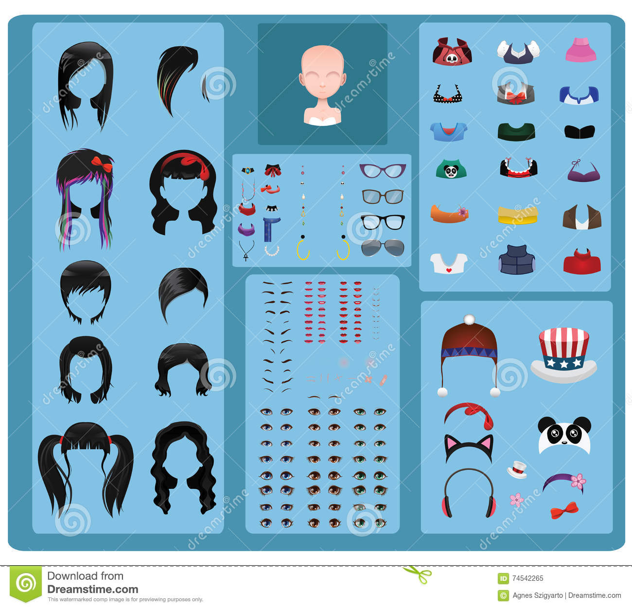 Female Avatar Maker - Black Hair Stock Vector - Illustration of hats