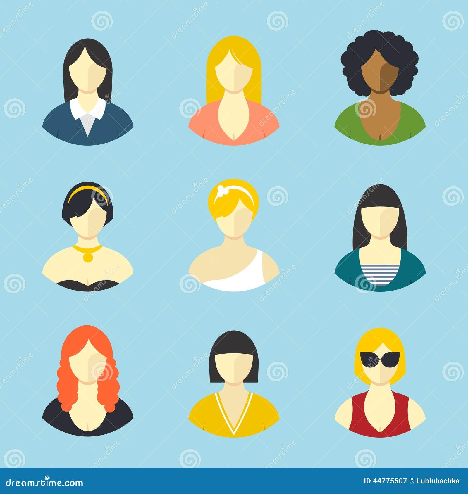 Developer Avatar: Female Avatars. Flat Design Vector Icons Set Stock Vector
