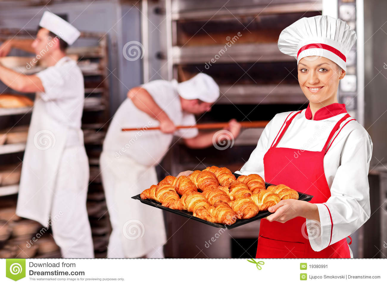 Female baker in bakery