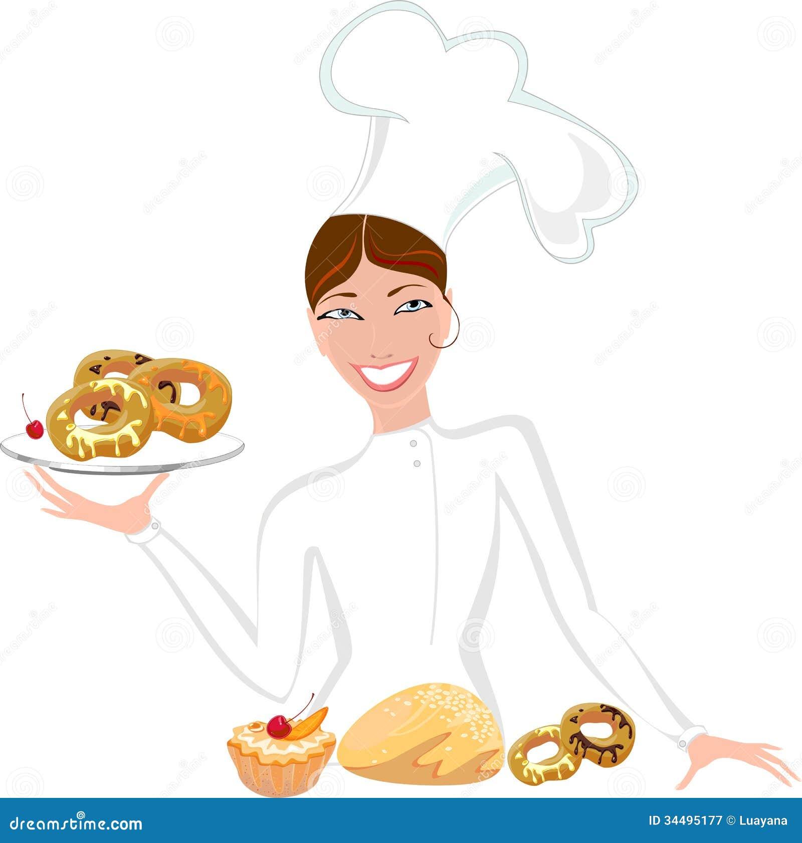 Female Baker Sweet Pastry Smiling Mr Chef Holding Bread