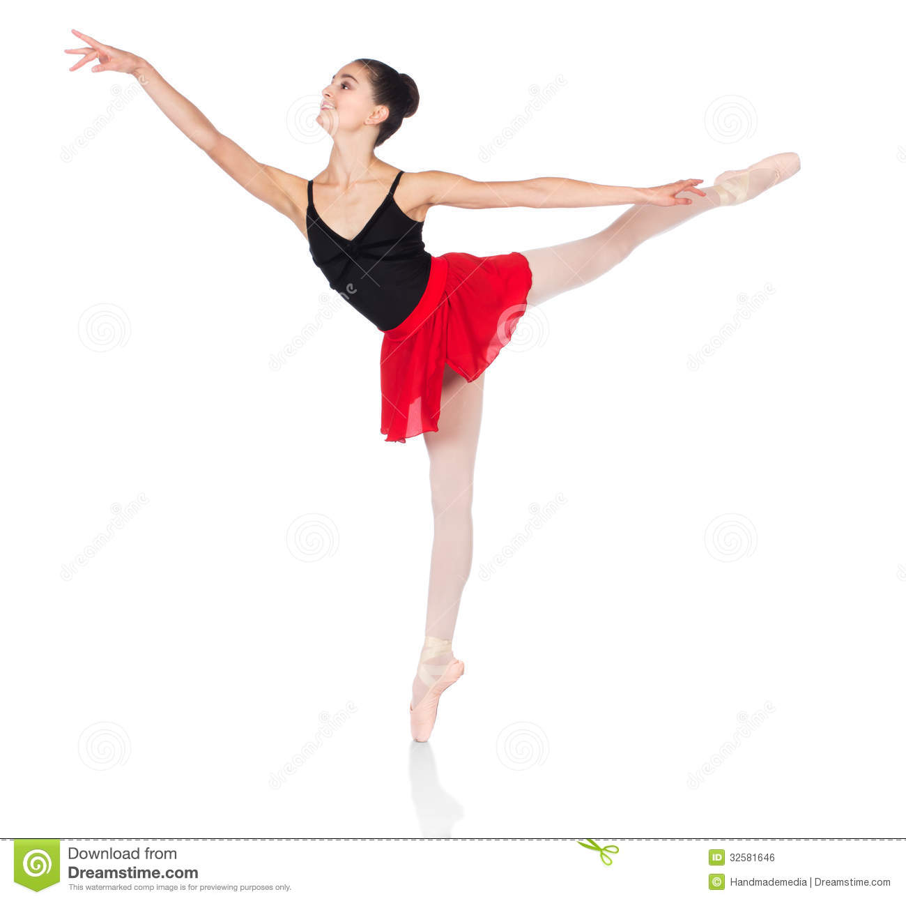 Beautiful female ballet dancer isolated on a white background
