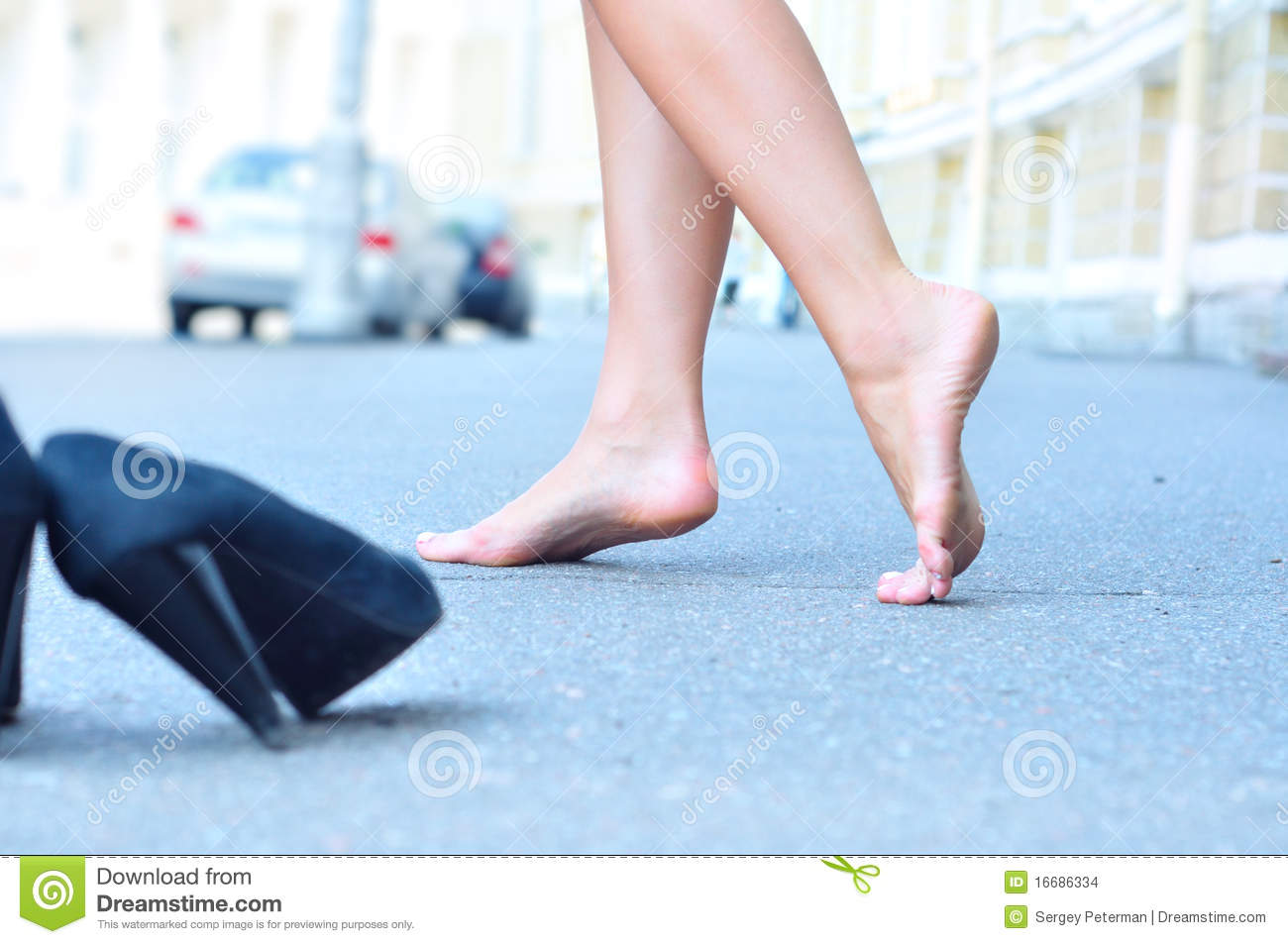 Female bare feet stock photo. Image of road, city, blue ...