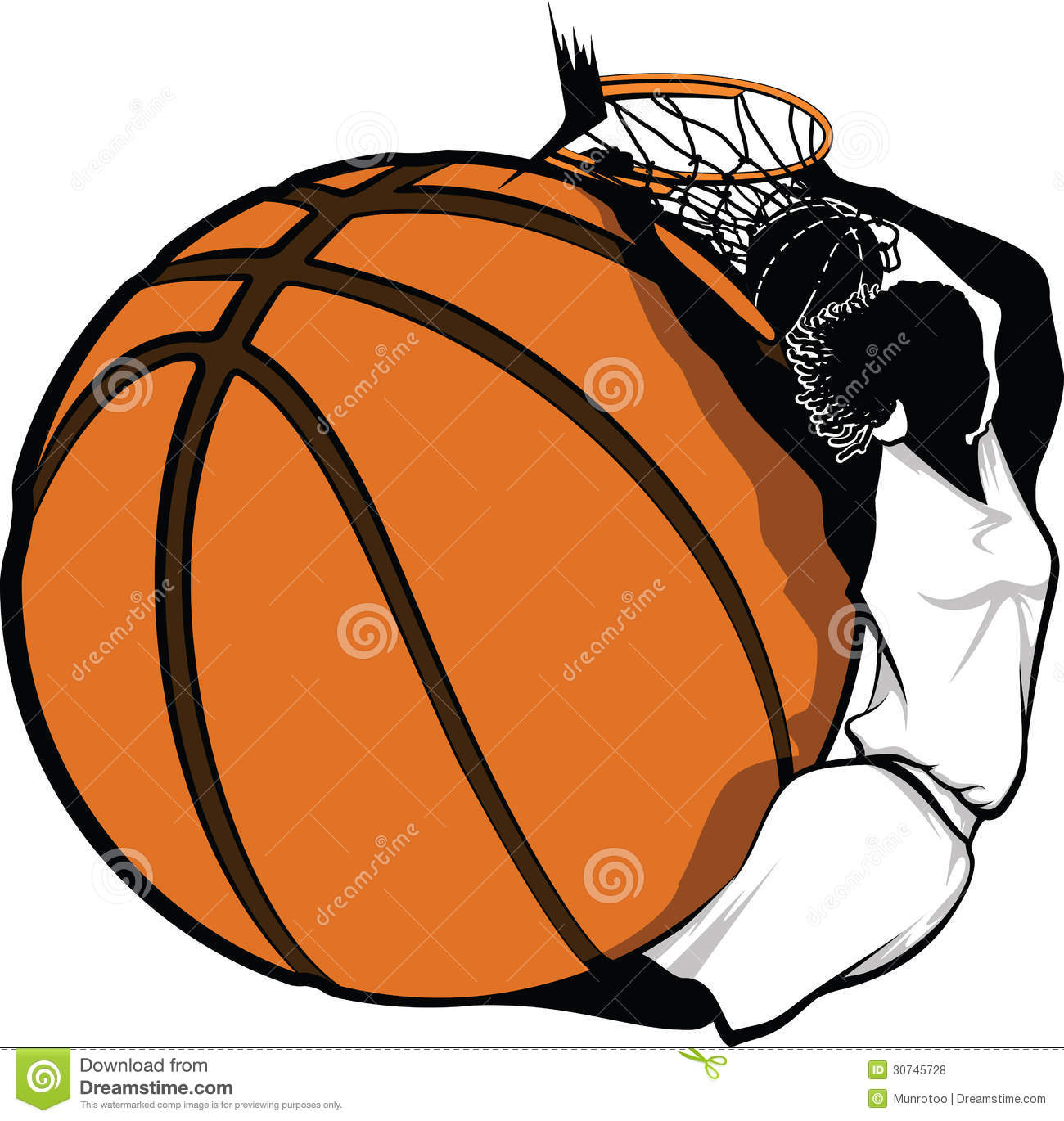 ... of a female basketball player swooped around a basketball dunking