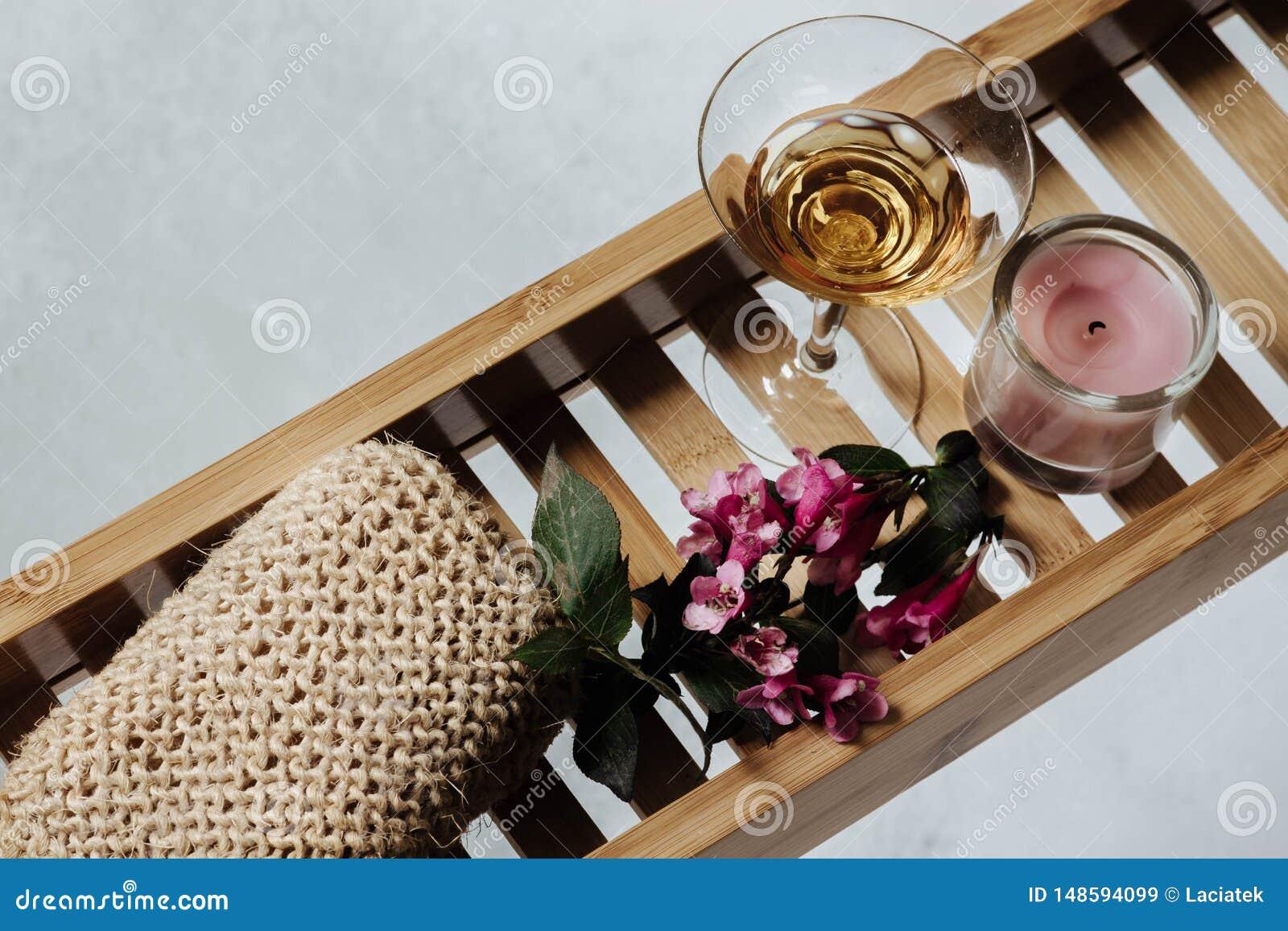 Female Bathroom - Romantic Bath With Natural Pumice, Glass ...