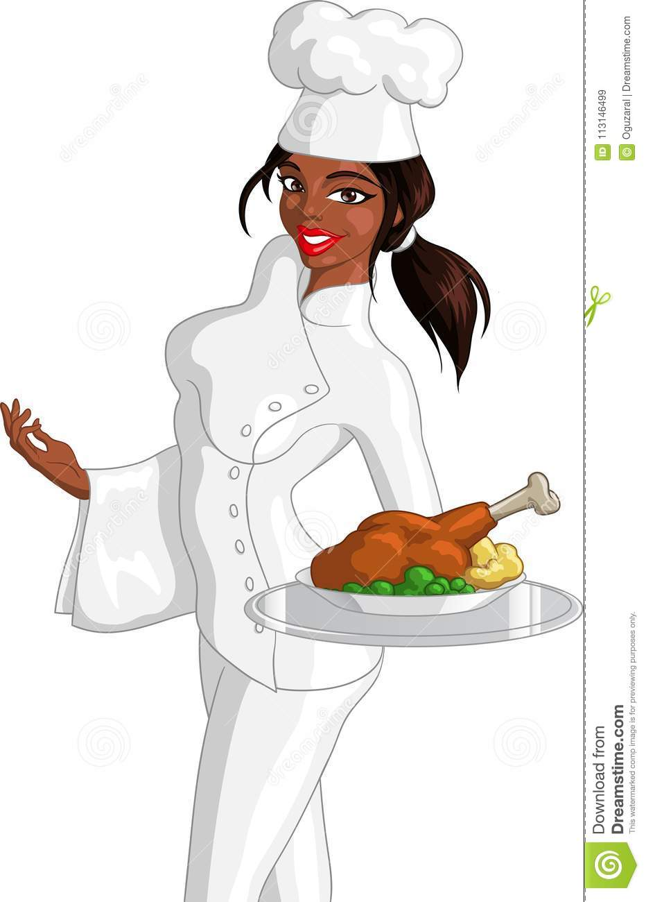 Female Black Chef Holding Fried Chicken Stock Vector ...