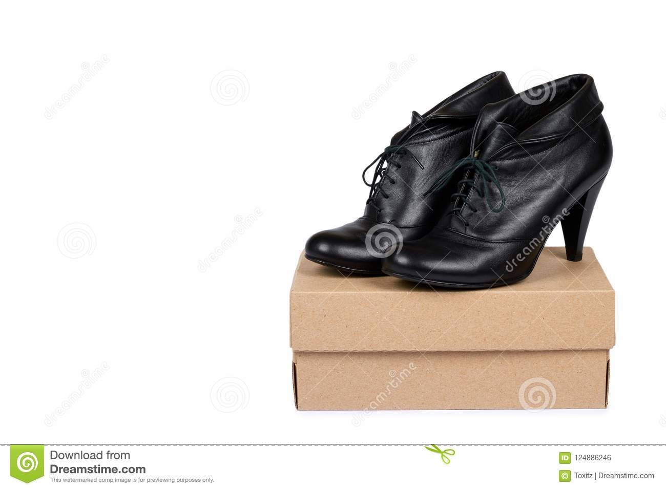 female black leather high heel shoes with box isolated on white
