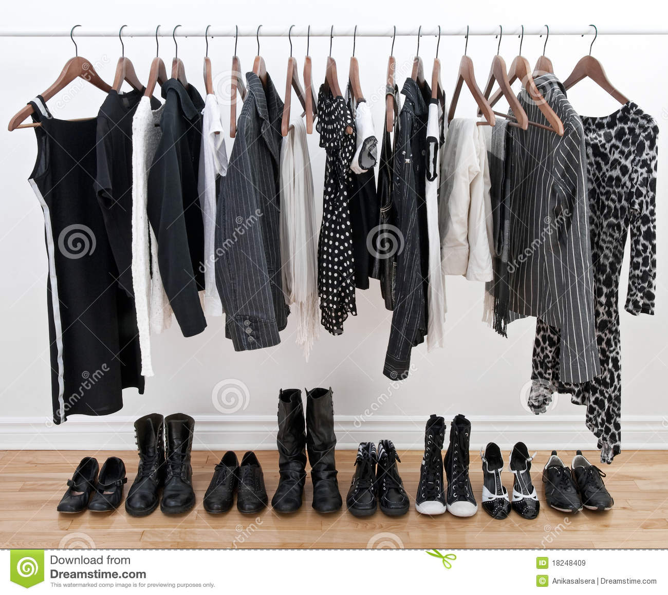 black and white clothes and shoes royalty free