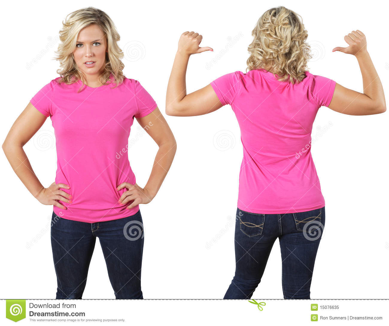 8da216da Female With Blank Pink Shirt Stock Image - Image of clothing, girl ...
