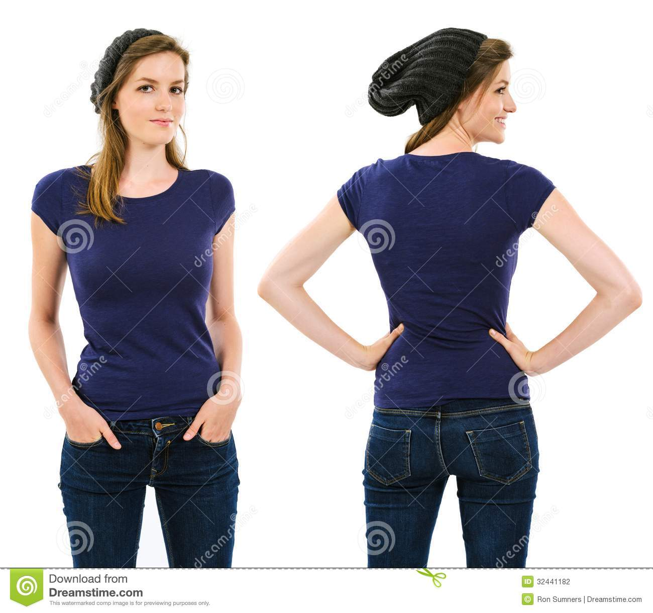 Female With Blank Purple Shirt And Beanie Stock Photo
