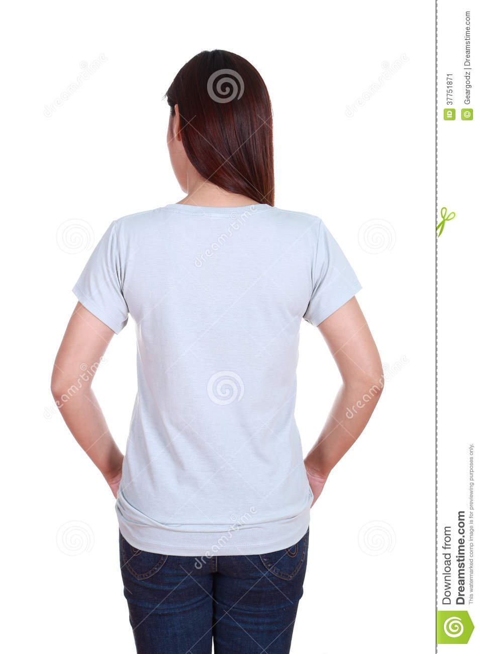 Female With Blank T-shirt  Back Side  Stock Image