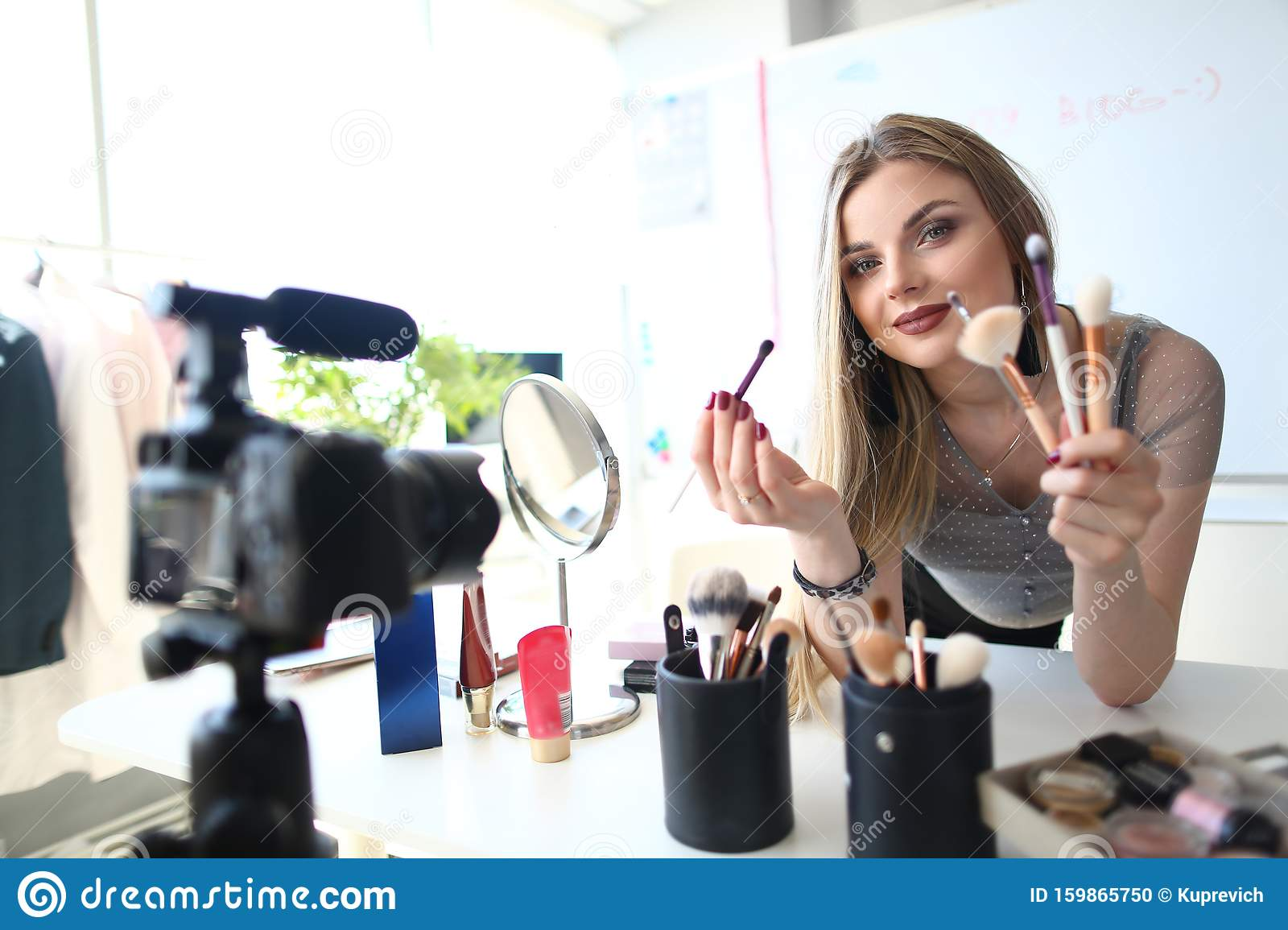 Female Blogger Present Cosmetic Product Video Blog Stock Photo Image Of Camcorder Home 159865750