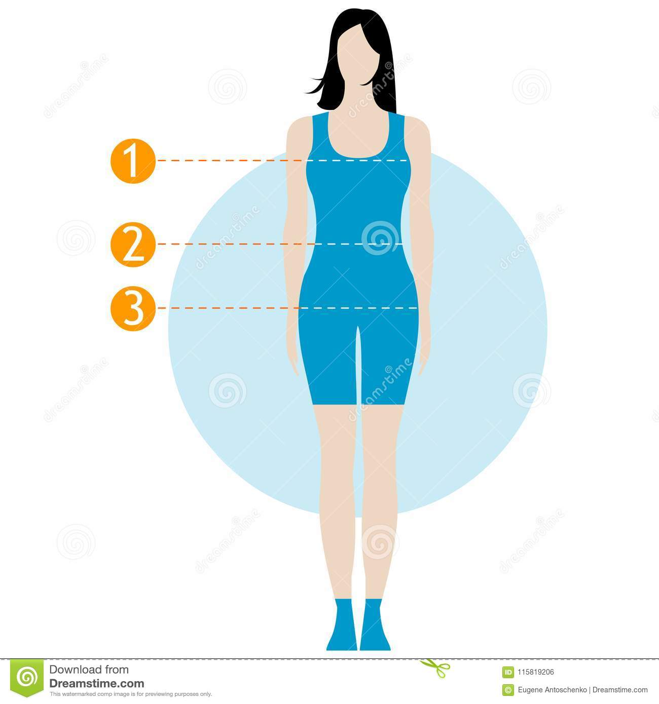 Female Body Measurement Chart Figure Of The Girl Model In Underwear Swimwear Template For Sewing Fitness Work Out Healthy Stock Illustration Illustration Of Determine Infographic 115819206
