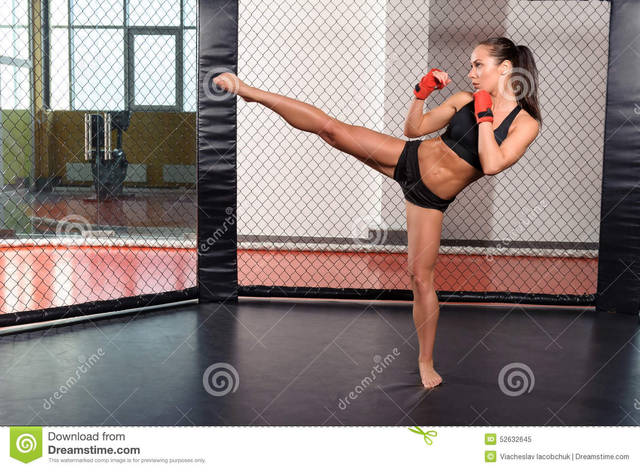 Female Boxer Fighting In A Ring Stock Image Image Of Sportswoman Fighter 52632645