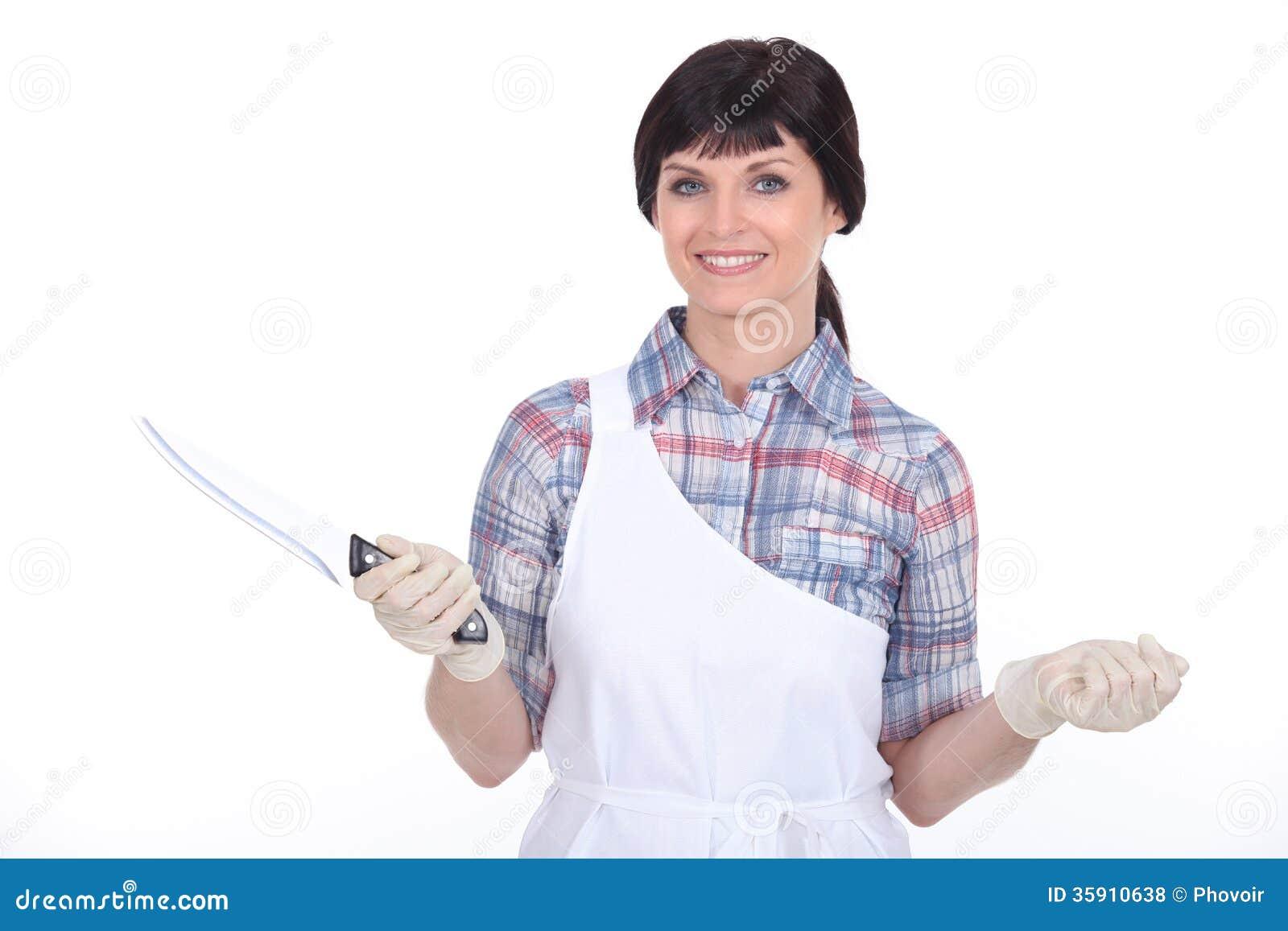White apron health - Female Butcher