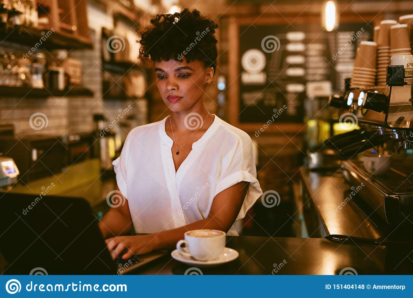 Female cafe owner using laptop