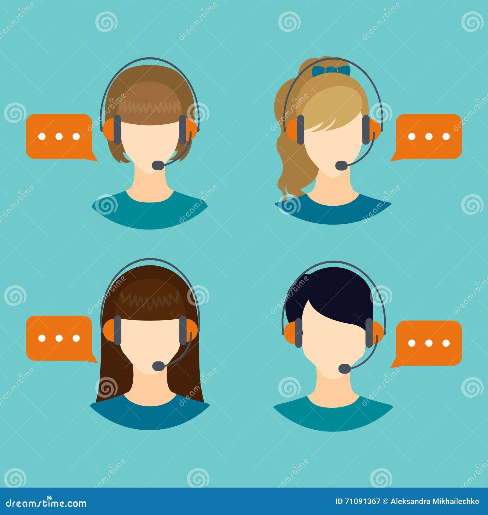Female Call Center Avatar Icons Stock Vector