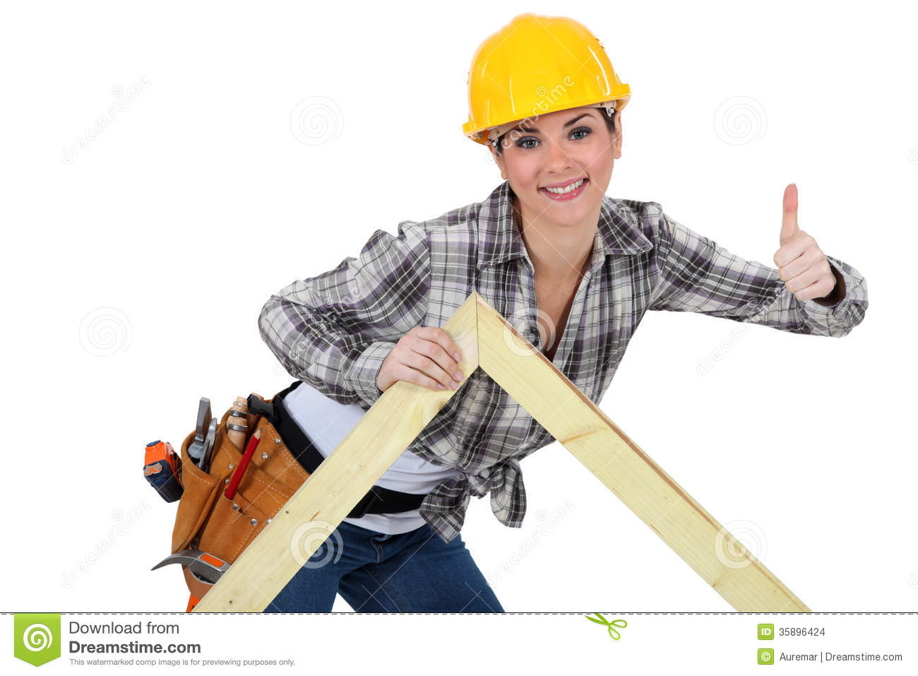 Female Carpenter With Truss Stock Images - Image: 35896424