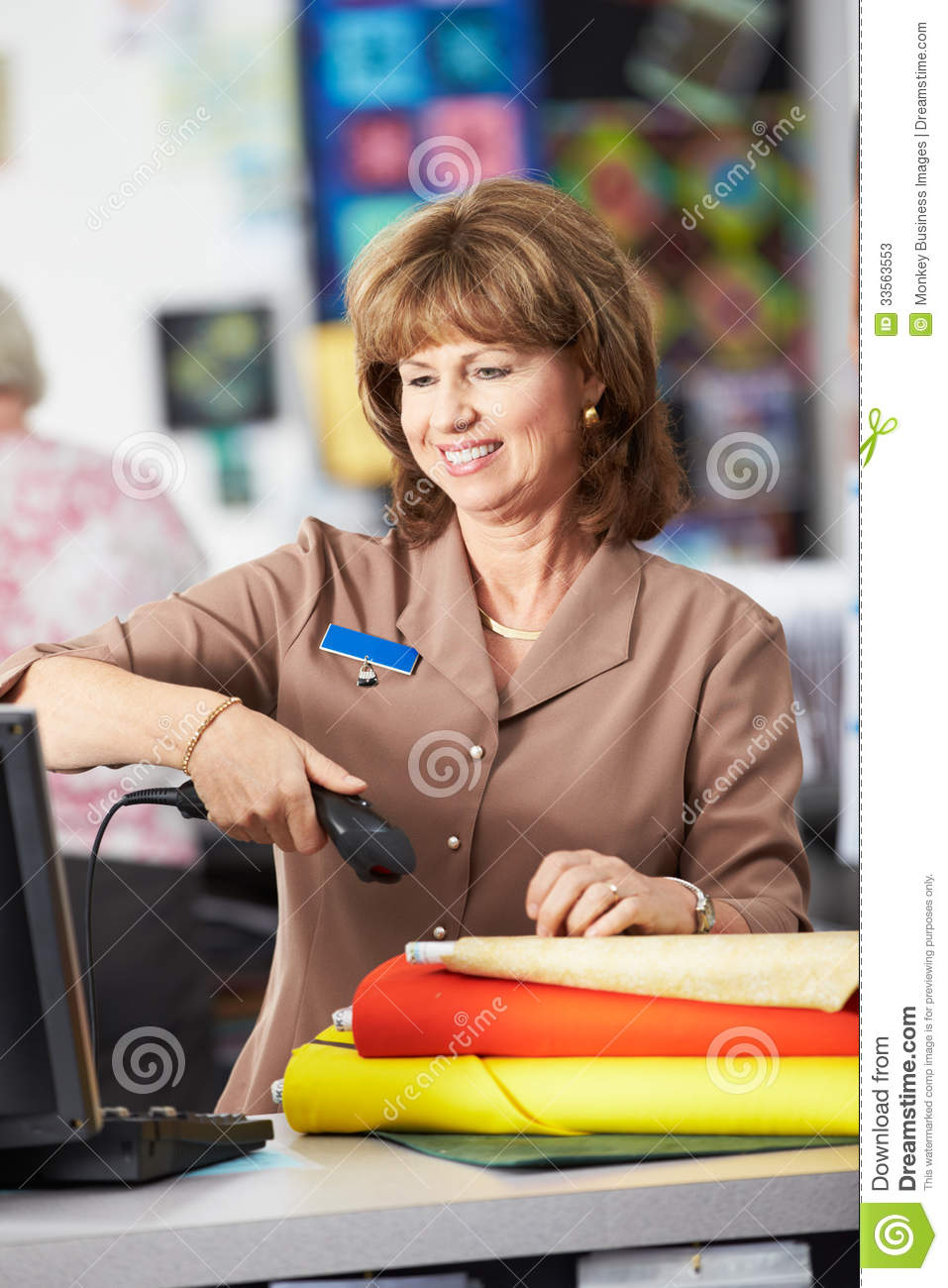 Female Cashier At Clothing Store Stock Photos Image