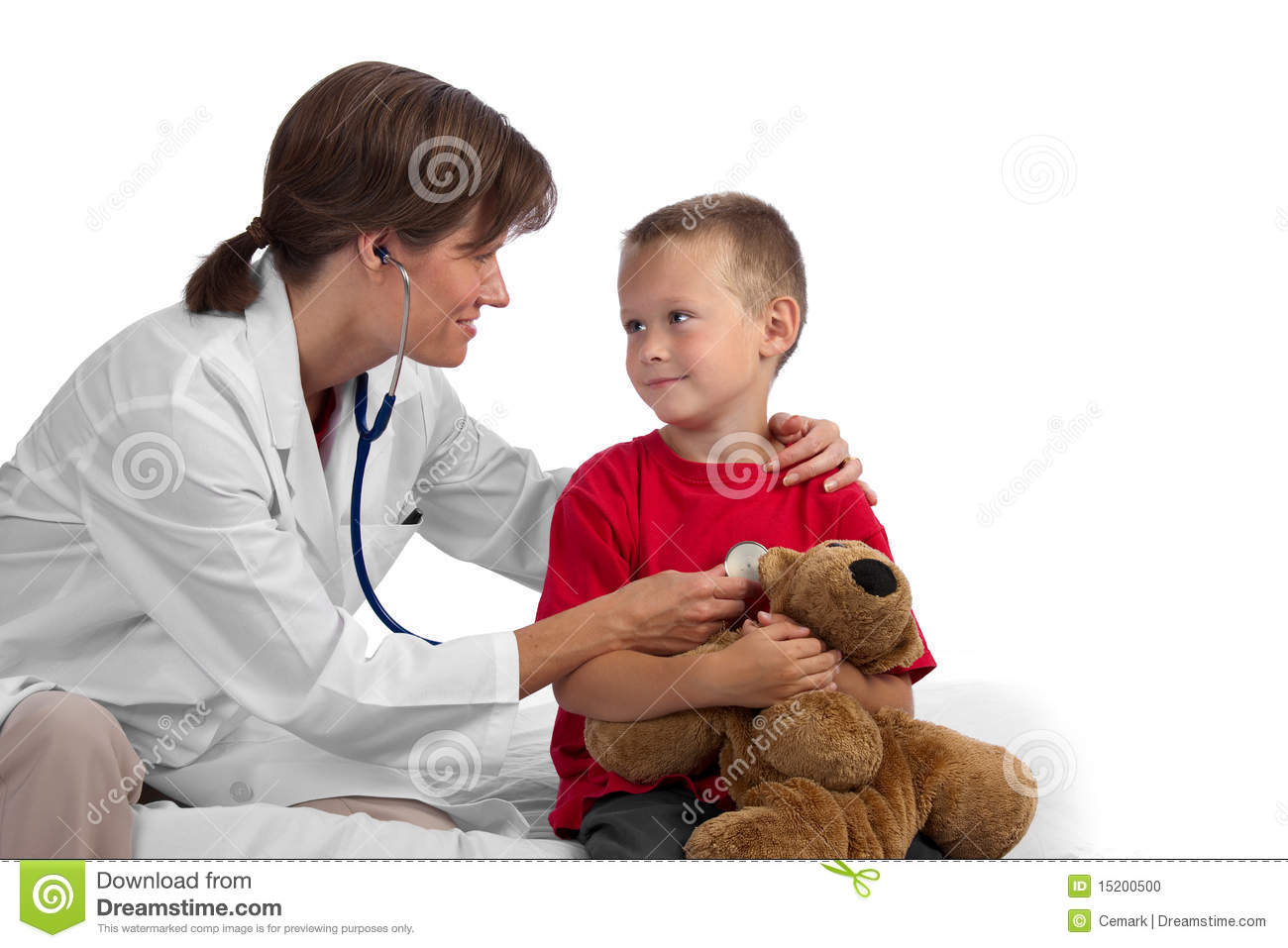Female caucasian doctor giving a cute blond boy a physical, listening ...