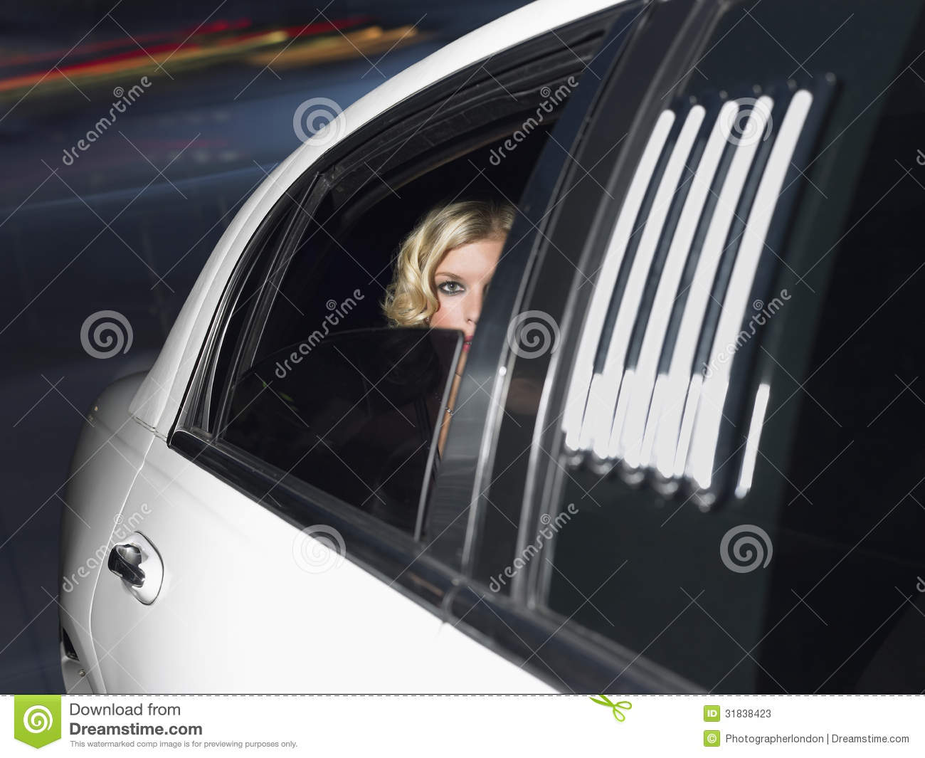 Female Celebrity Inside The Limo Car Stock Image Image