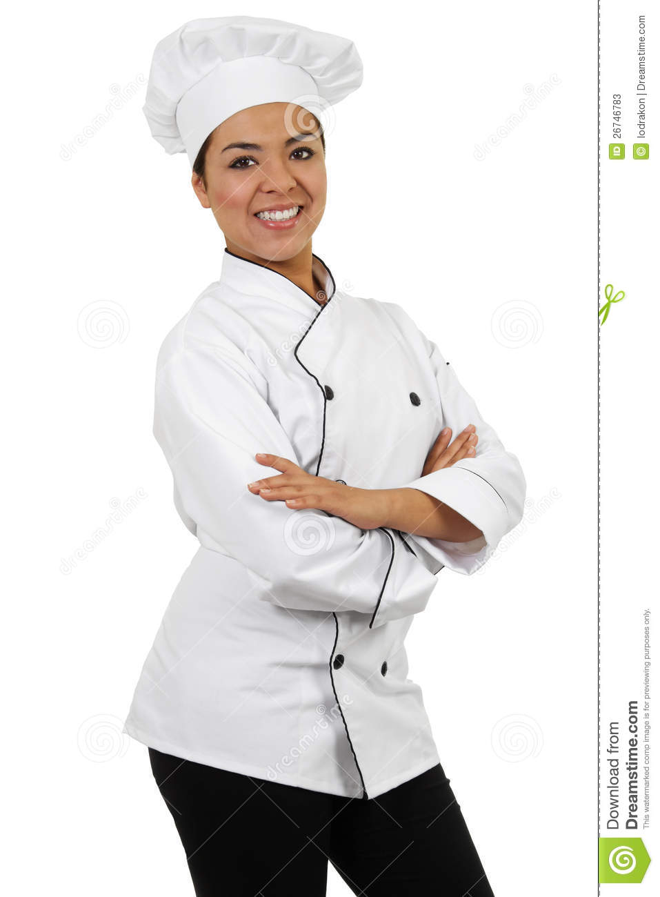 Stock image of female chef isolated on white background.
