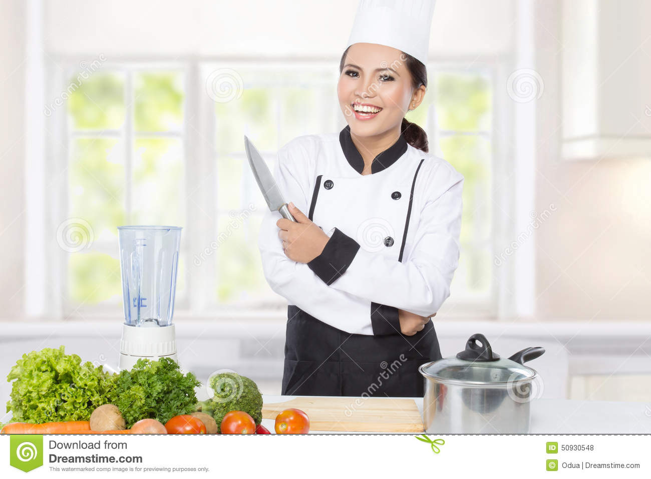 Female Chef Cooking In The Kitchen Stock Photo - Image of healthy ...