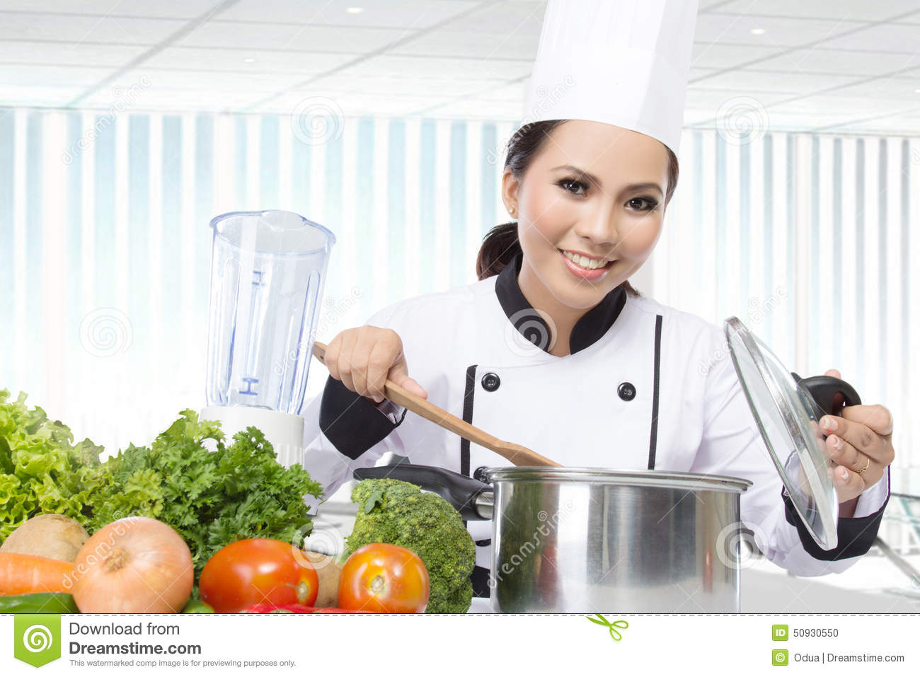 Female Chef Cooking In The Kitchen Stock Photo - Image of dinner ...