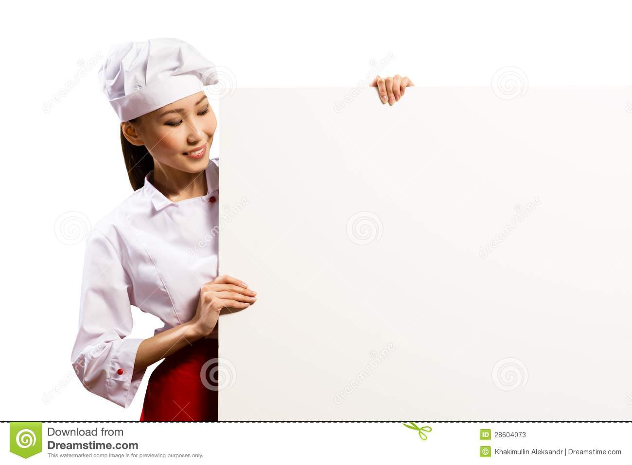 Female Chef Holding A Poster For Text Stock Photos - Image ...