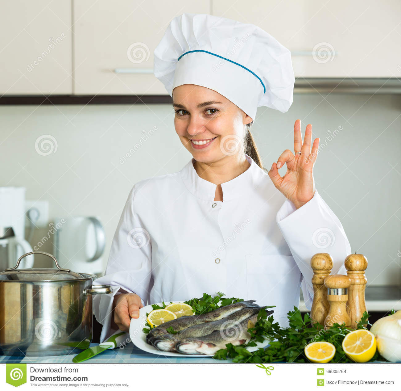 Female chef in kitchen stock photo. Image of board, diet - 69005764
