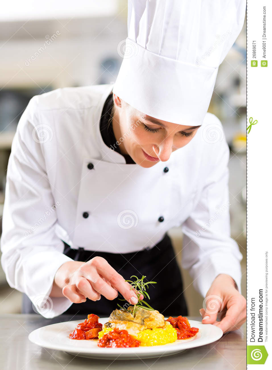 Female Chef In Restaurant Kitchen Cooking Stock Image ...