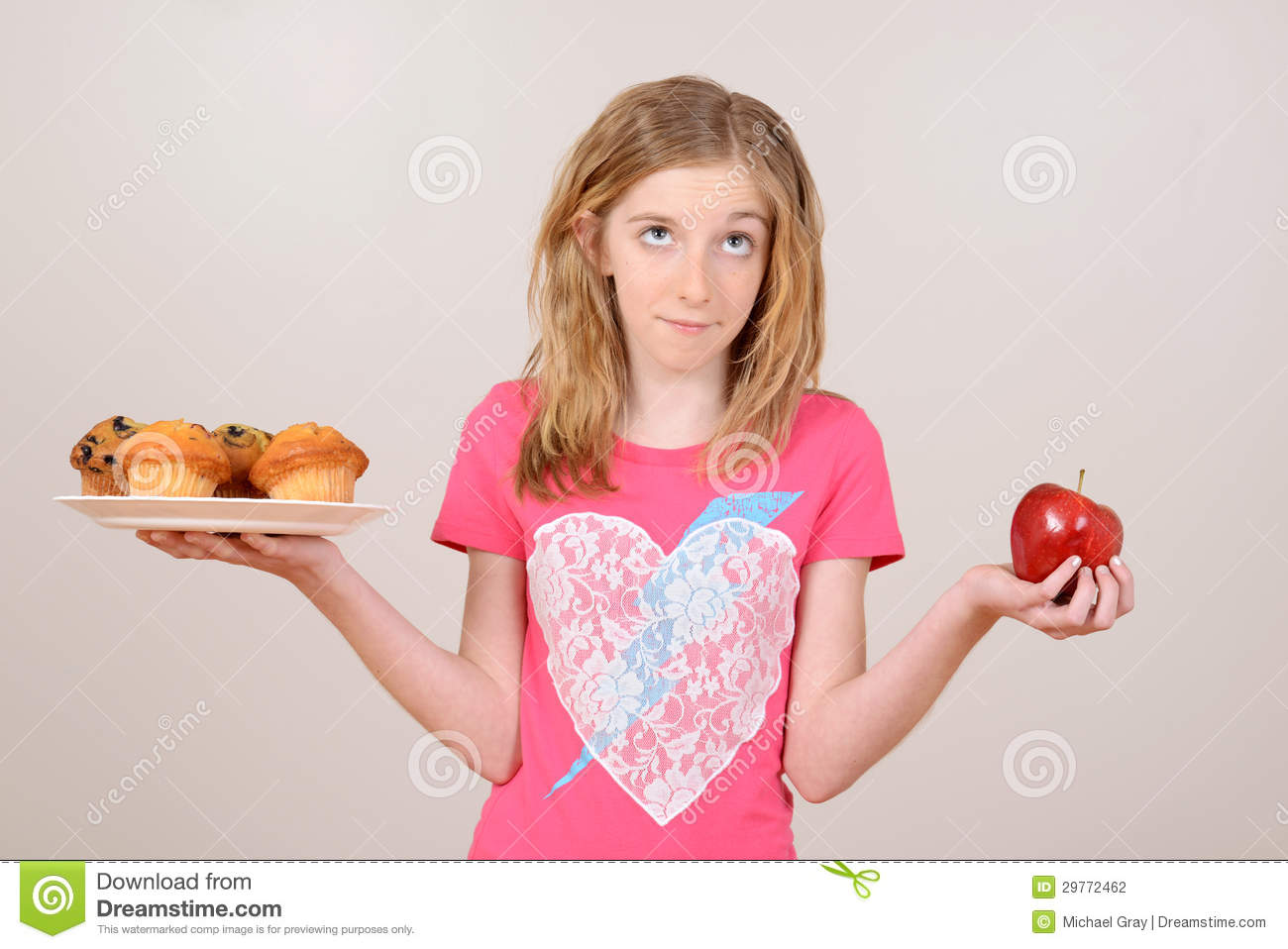Download Female Child Healthy Eating Concept Stock Photo - Image of cupcake, choice: 29772462
