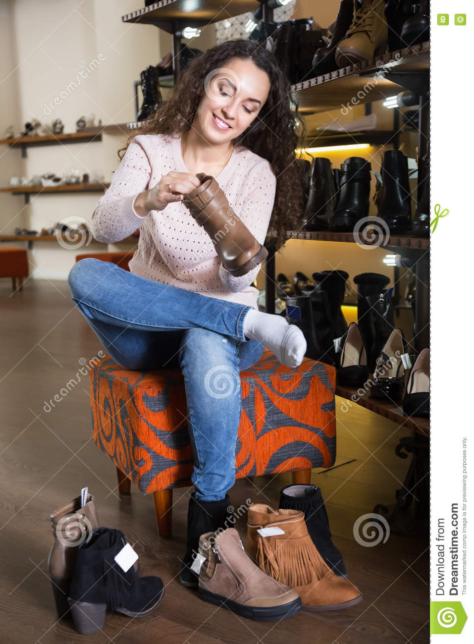 Female Customer Choosing Shoe Stock Photography ...