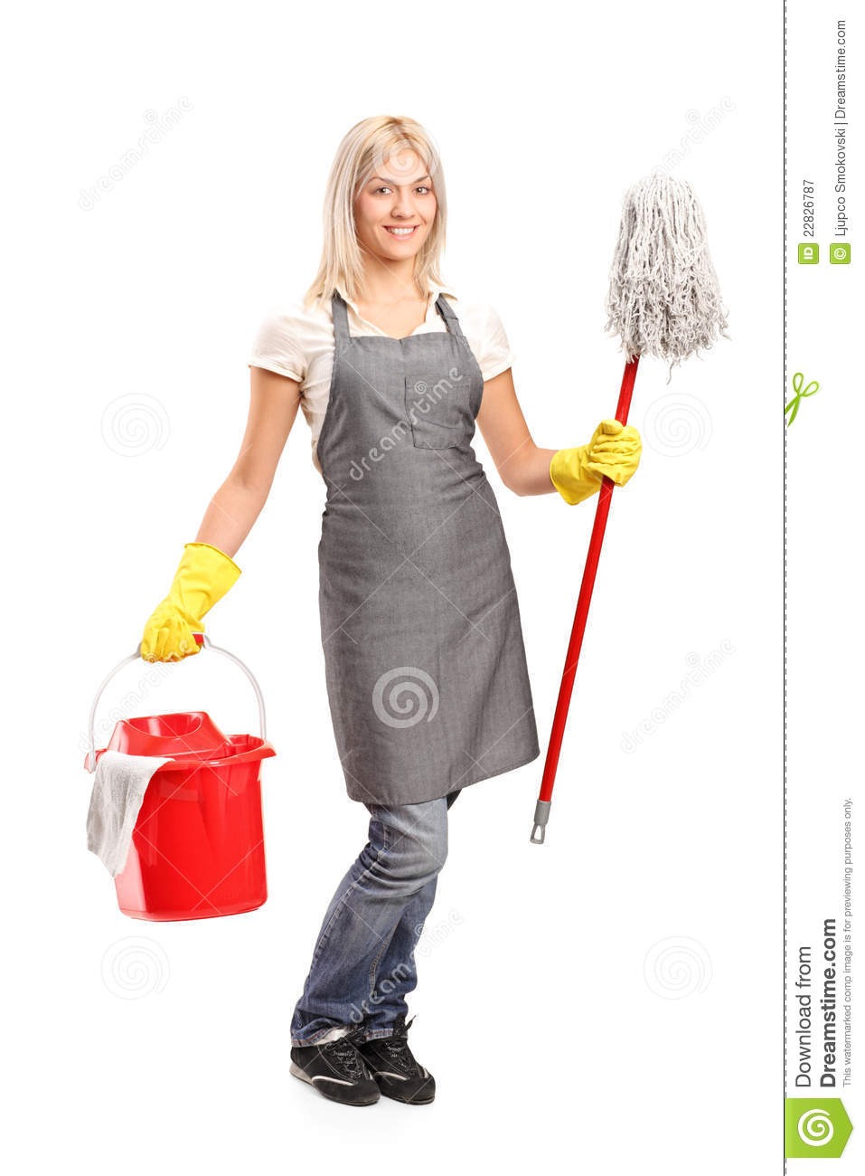 Female Cleaner Holding Bucket Royalty Free Stock