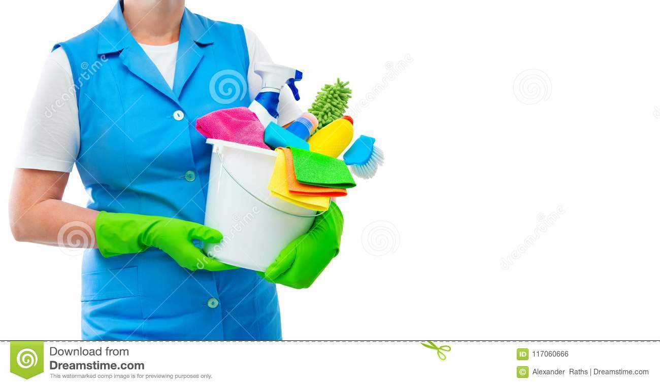 Female cleaner holding a bucket with cleaning supplies isolated