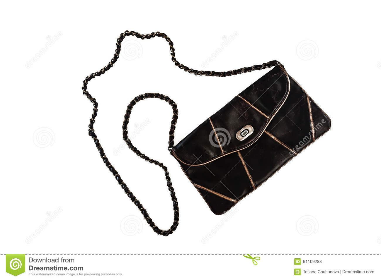 0573a6a1 Female clutch bag on a long handle-chain, isolated on a white background.