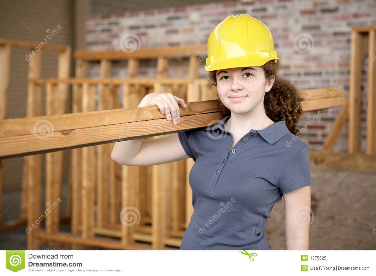 Download Female Construction Apprentice Stock Image - Image of plank, person: 1975625