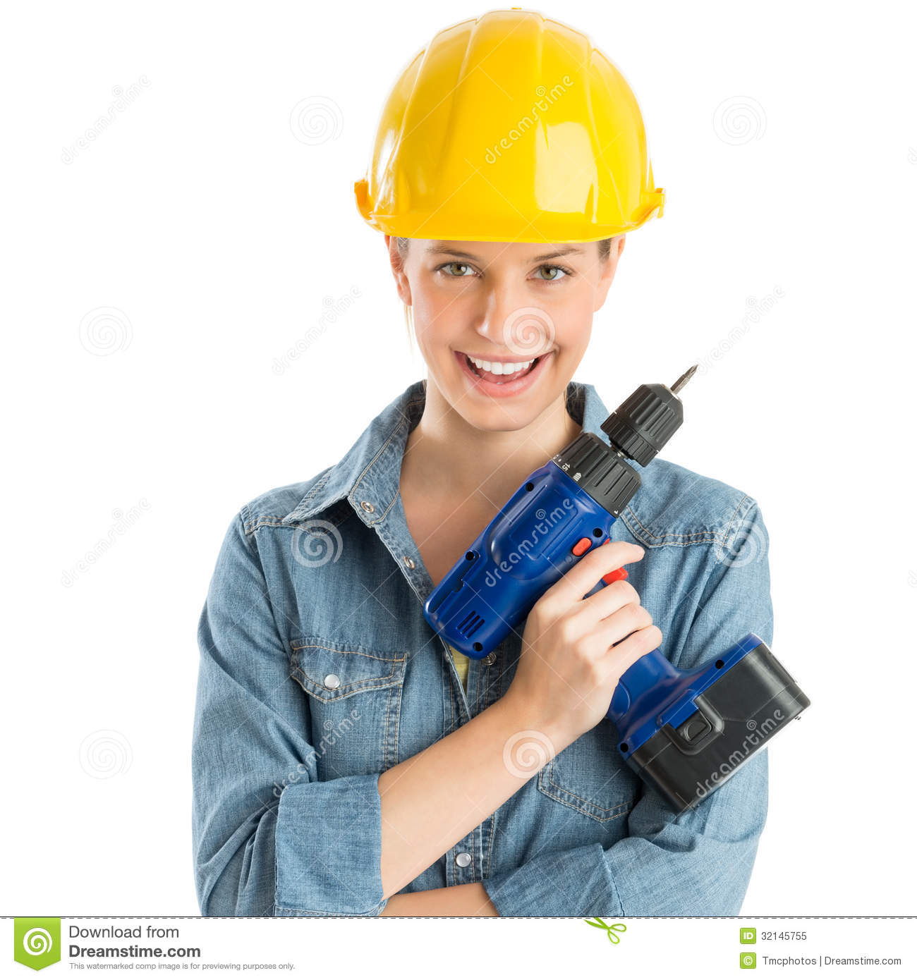Female Construction Worker Wearing Helmet While Holding ...
