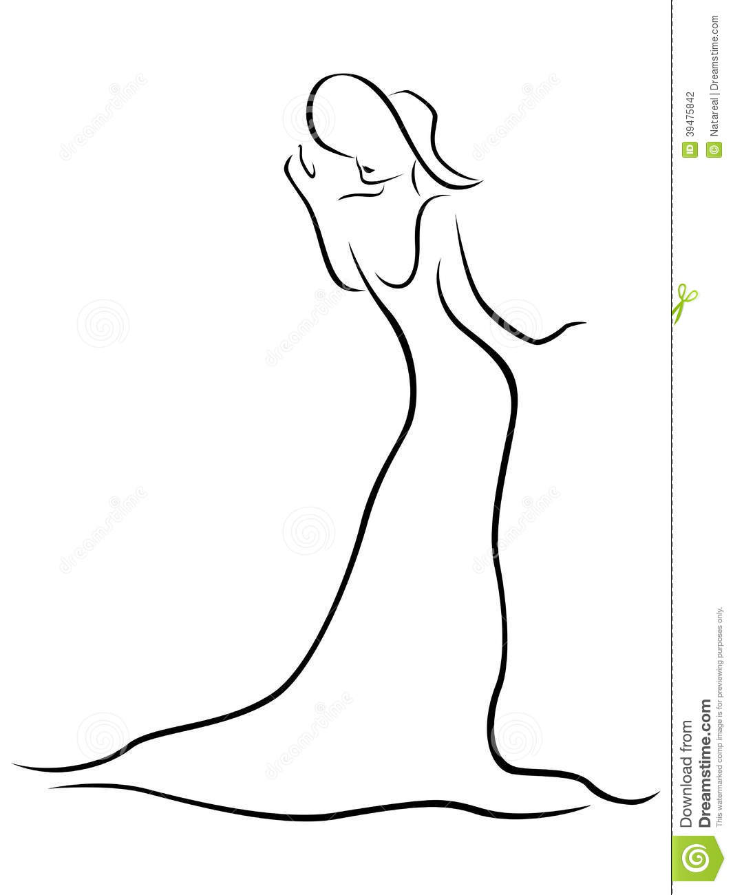 Contour Line Drawing Body : Female contour with a hat and long dress stock vector