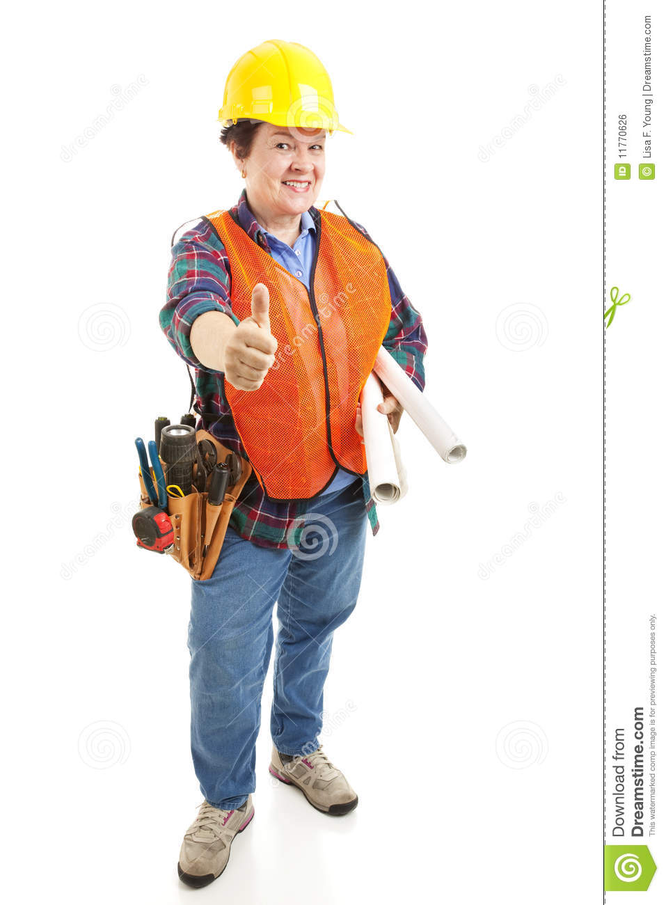 Female Contractor Thumbsup Royalty Free Stock Image