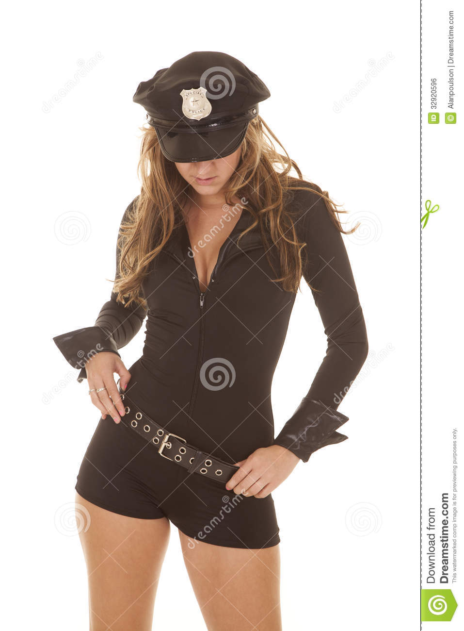 Blonde white female police officer with black man