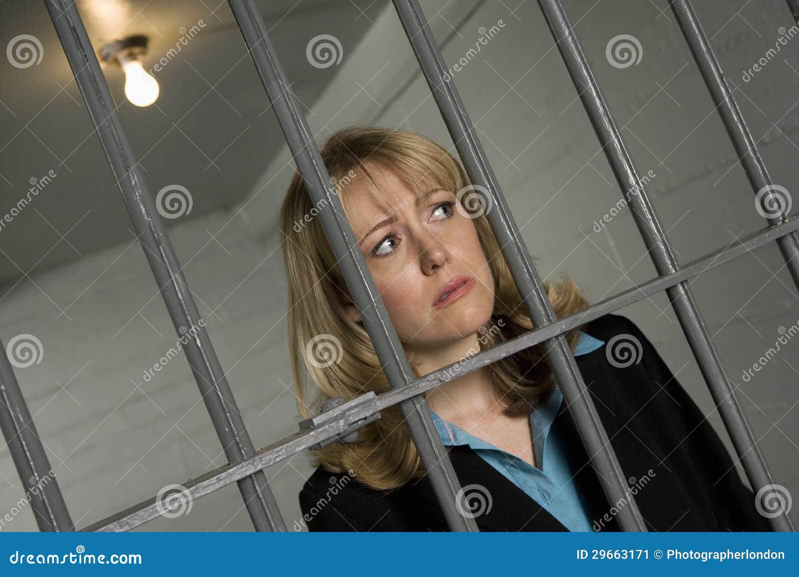Female Criminal Behind Bars In Jail Stock Image Image