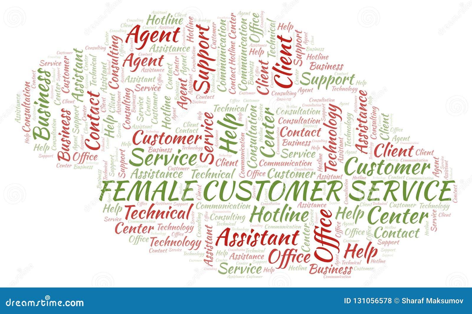 Female Customer Service Word Cloud  Stock Illustration