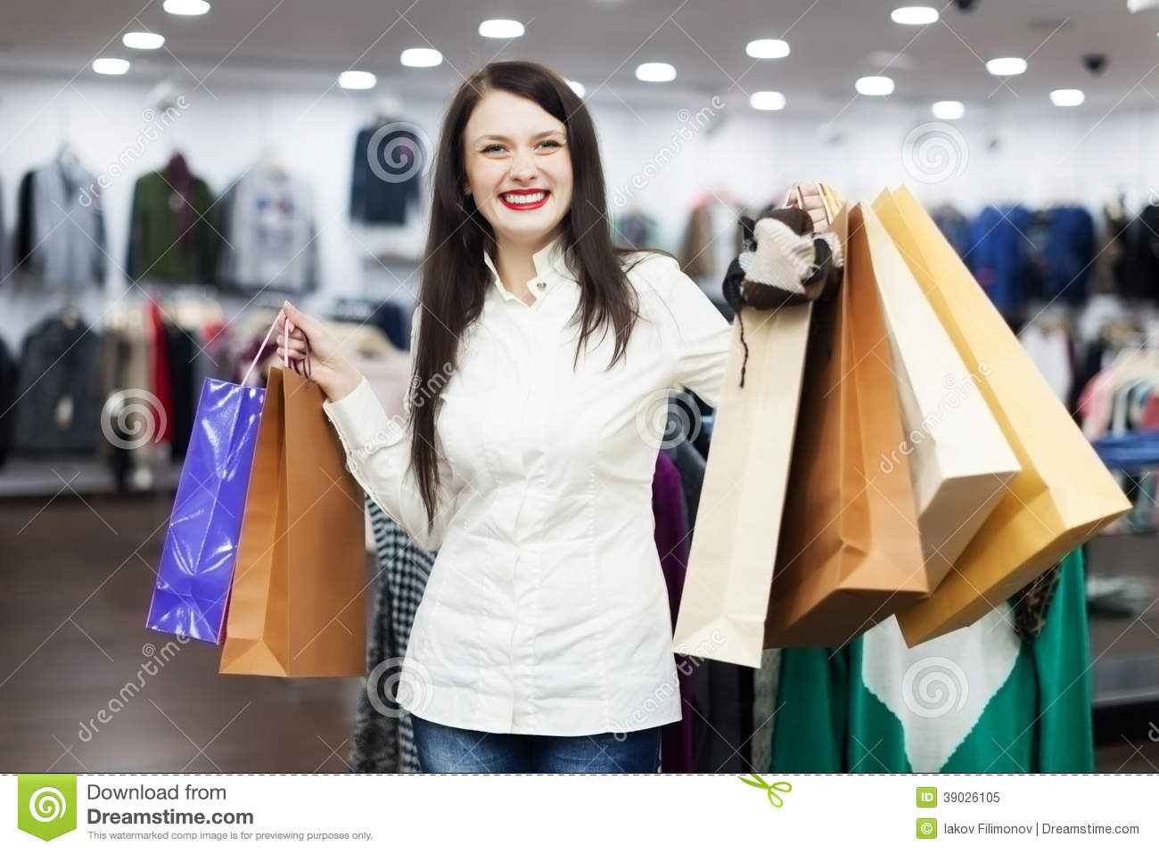 Female Customer With Shopping Bags Boutique Stock Photo - Image ...