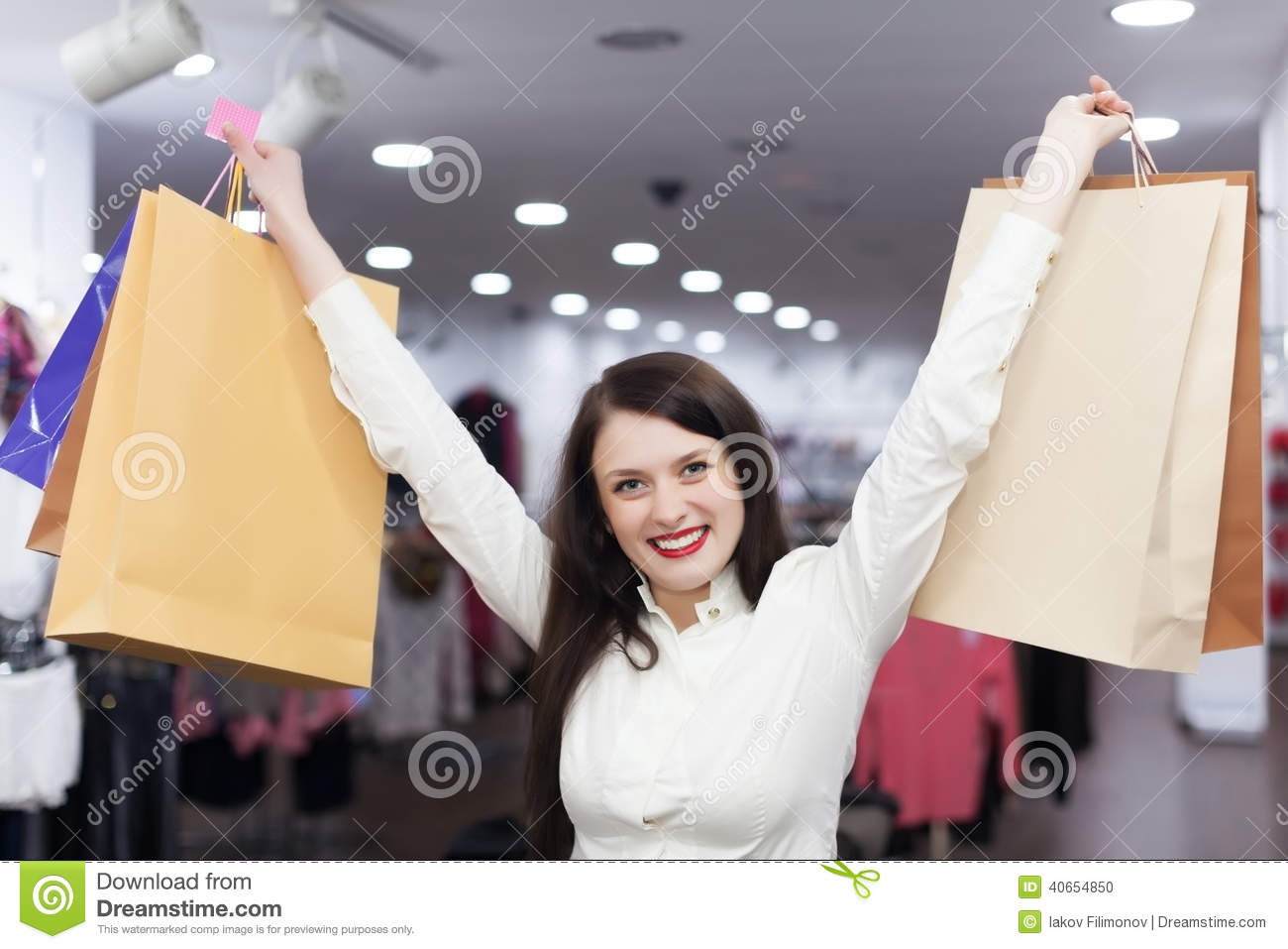 Female Customer With Shopping Bags Stock Photo - Image: 40654850