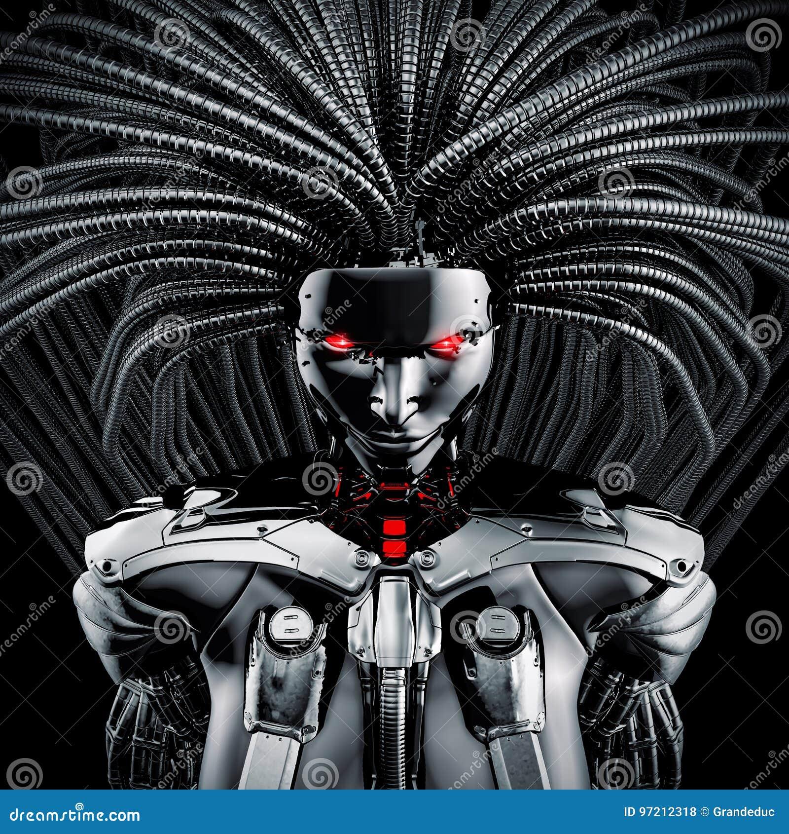 Download Female cyborg concept stock illustration. Illustration of fantasy - 97212318